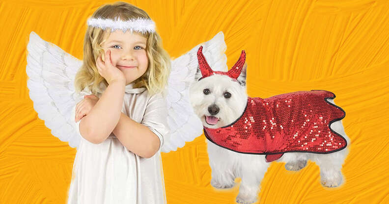 Angel and Devil dog and baby costumes