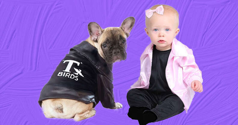 greaser and pink lady dog and baby costume