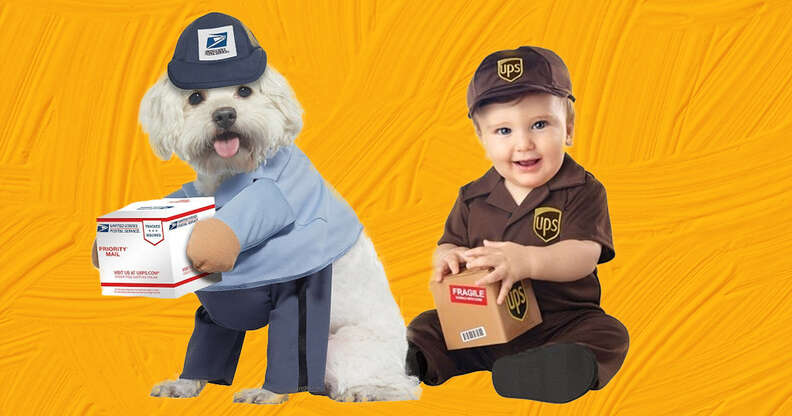 USPS and UPS drivers dog and baby costumes