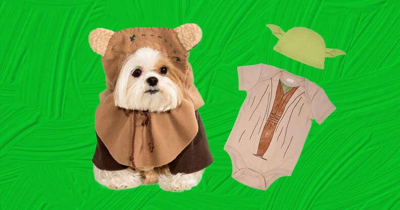 ewok and Yoda baby and dog costume