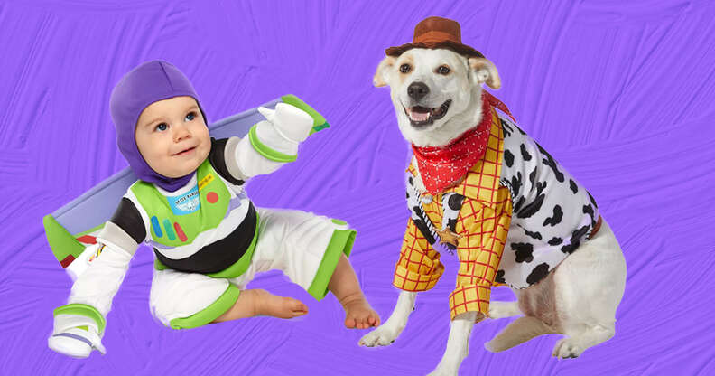 Woody and Buzz baby and dog costumes