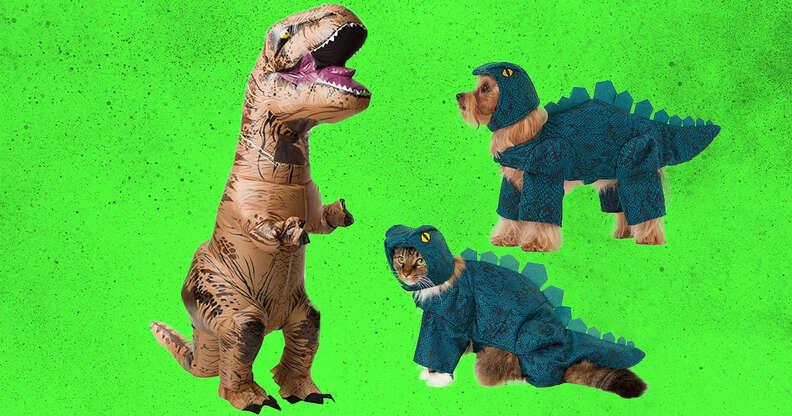 Dinosaur human and dog costumes