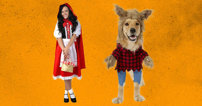 Little red riding hood and wolf dog and owner costumes