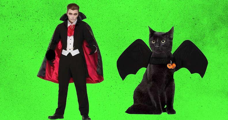 vampire and bat cat and owner costume