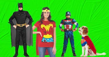 Superhero Halloween family costumes