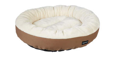 round flannel top pet bed