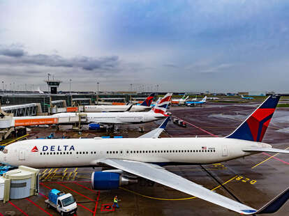A Delta airplane on the ground.