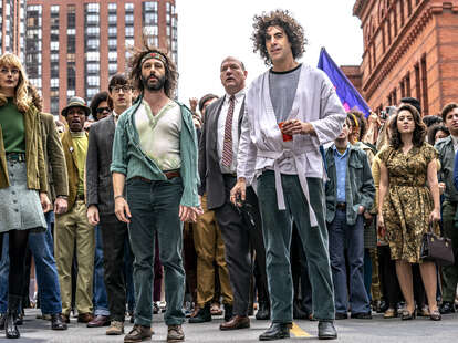 trial of the chicago 7, caitlin fitzgerald, jeremy strong, sacha baron cohen