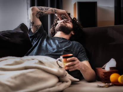 man hungover morning after party