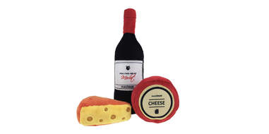 wine and cheese dog toy
