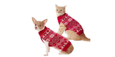 red Christmas sweater for dogs and cats