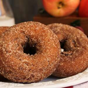 vegan apple cider donuts donut cinnamon sugar apples fall baking recipe