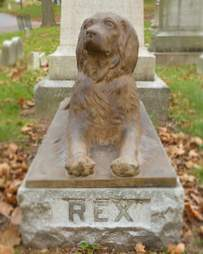 Rex the dog guards owners grave at Green-Wood