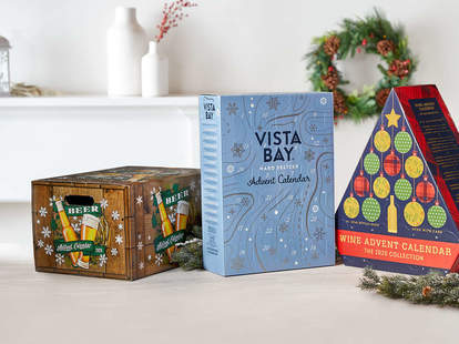 Aldi beer, wine, and hard seltzer Advent calendars in their festive holiday boxes.