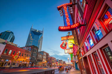 Lower Broadway Area in Nashville, Tennessee
