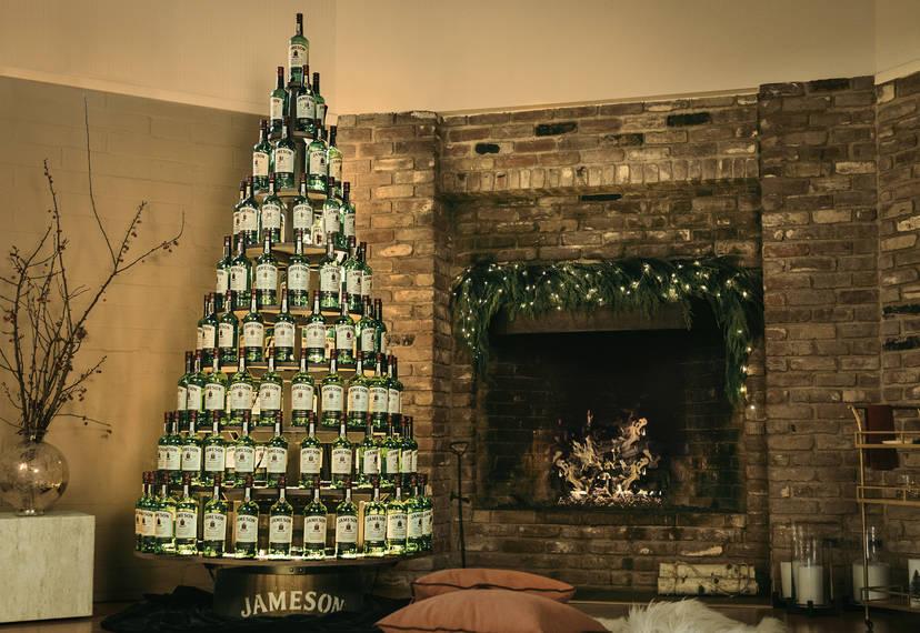 Jameson Is Gifting Light Up Whiskey Trees Made Of 130 Whiskey Bottles Thrillist