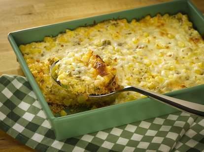 Corn casserole in a green dish