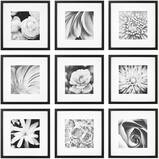 """Gallery Perfect Gallery Wall Kit Square Photos with Hanging Template Picture Frame Set, 12"""" x 12"""", Black, 9 Pieces"""