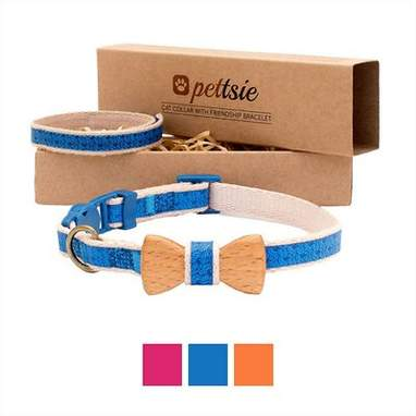Blue Bow Tie Cat Collar with Friendship Bracelet