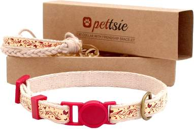 Cotton Breakaway Cat Collar with Friendship Bracelet