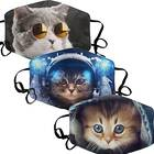 3-Pack Of Cute Cat Print Face Masks