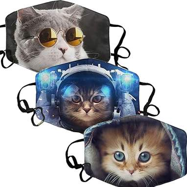 3-Pack Of Cute Cat Print Face Masks
