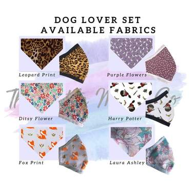 Patterned Dog Bandana And Matching Mask Set