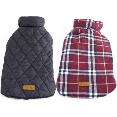 Kuoser Cozy Reversible British Style Plaid Dog Winter Coat