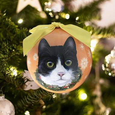 Black And White Cat Shatterproof Ornament