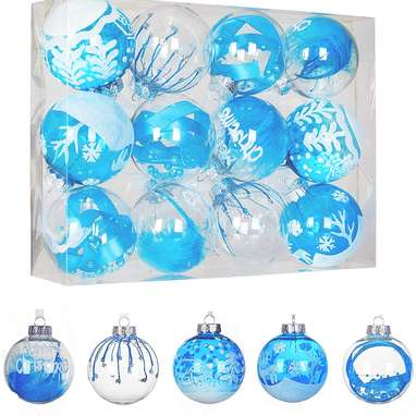 12-Pack Of Blue Shatterproof Christmas Ball Ornaments