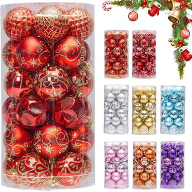 30-Pack Of Red And Gold Shatterproof Christmas Ball Ornaments