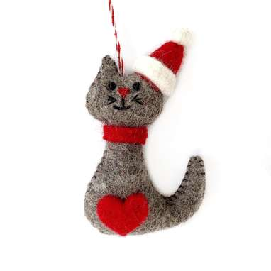 Cat in Christmas Hat Felt Ornament