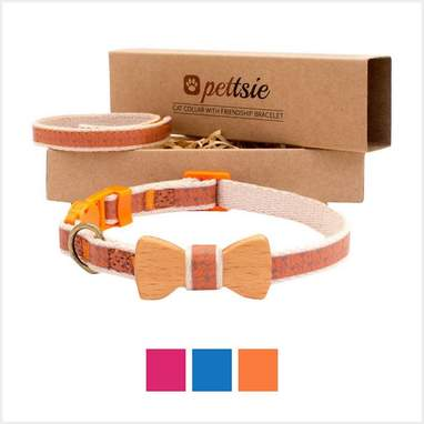 Orange Bow Tie Cat Collar With Friendship Bracelet