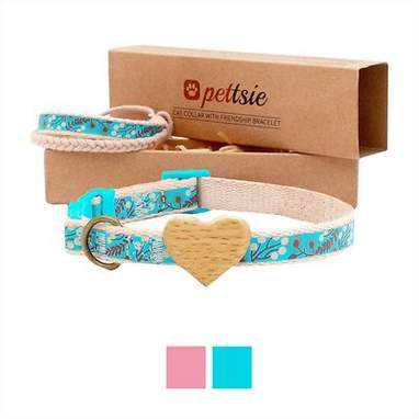 Blue Heart Cat Collar with Friendship Bracelet