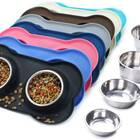 Stainless Steel Water Dog Bowls With Silicone Mat