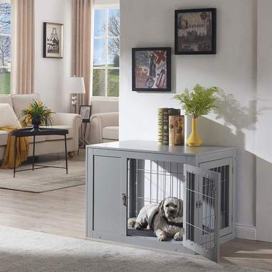 Dog Crate Double Door End Table With Cushion