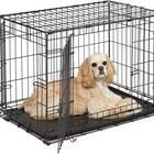 Double Door Folding Metal Dog Crate w/ Divider Panel