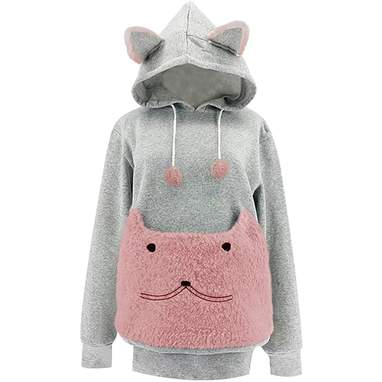 Fuzzy Pet Hoodie With Cat Face Pouch
