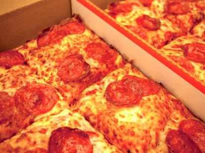 Little Caesars pizza up close