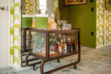Bar cart in the Harmon Room at 21c Museum Hotel Lexington