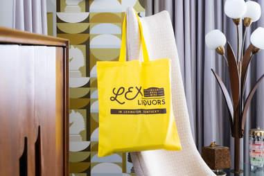 Lex Liquor tote bag at 21c Museum Hotel Lexington
