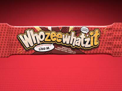 A wrapped Whozeewhatzit candy bar.