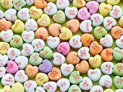 Conversation heart candies.