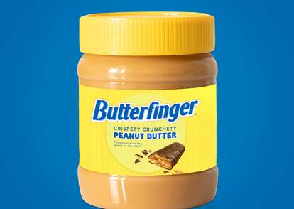 A mock-up image of a jar a Butterfinger peanut butter.