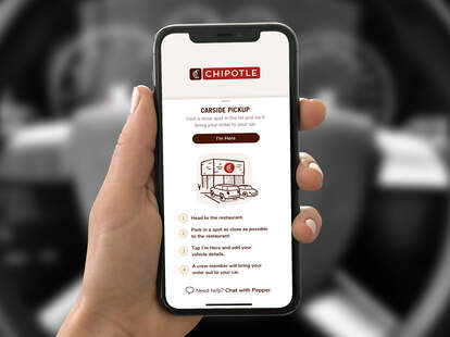 Chipotle curbside pickup option in mobile app