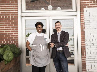 Chef Mashama Bailey and her partner, Johno, at The Grey in Savannah, Georgia