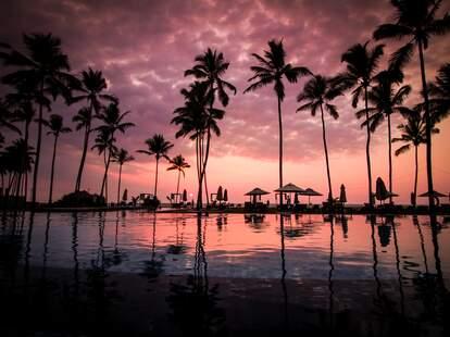 A beautiful beachfront at sunset.