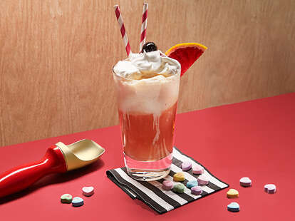 Love Float Valentine's Day Drink - Whiskey Cocktail Recipe - Supercall