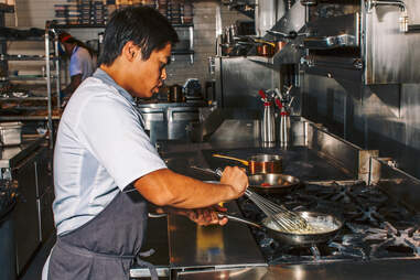 Ron Hsu cooking at Lazy Betty