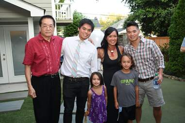 Mr. Hsu, Ron, Anita, and Howard with their kids
